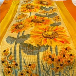Vintage Handmade Crochet Knit Sunflower Afghan